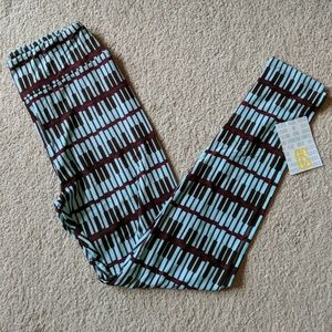 New Lularoe Leggings Brown Blue Piano One Size OS
